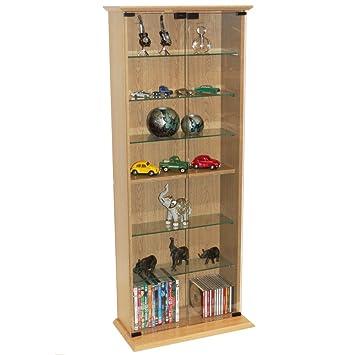 Bücherregal Mit Glastür boston dvd cd regal mit glastüren buche amazon de küche haushalt