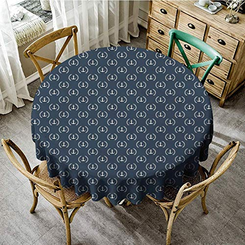 DONEECKL Dust-Proof Tablecloth Navy Blue Marine Icons Laurus Nobilis Design Diagonal Arrangement Maritime Abstract Soft and Smooth Surface D43 Blue Grey White
