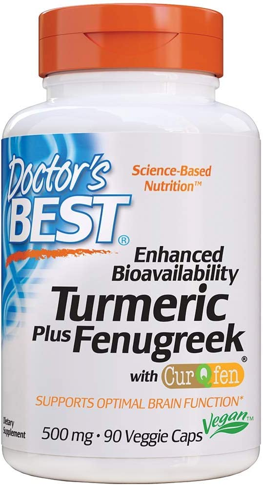 Doctor's Best Enhanced Bioavailability Turmeric-Curcumin Plus Fenugreek (Curqfen), Brain Function, Memory, Stress, Joint & Cardiovascular Functions 90 VC