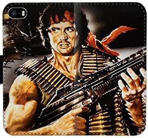 Funda iPhone Rambo Sylvester Stallone O1A0E Caso 6 6S 4.7 Cartera de cuero funda BJ1x2b Droid cubiertas del teléfono celular