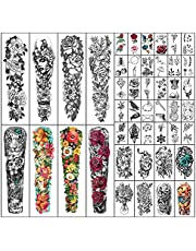 Metuu 46 Sheets Full Arm Waterproof Temporary Tattoos For Men, Lion Tiger Clock Flower Skeleton Animals Fake Tattoos For Adult Men and Women, Body Hand Forearm Shoulder 3D Temp Tattoo Stickers