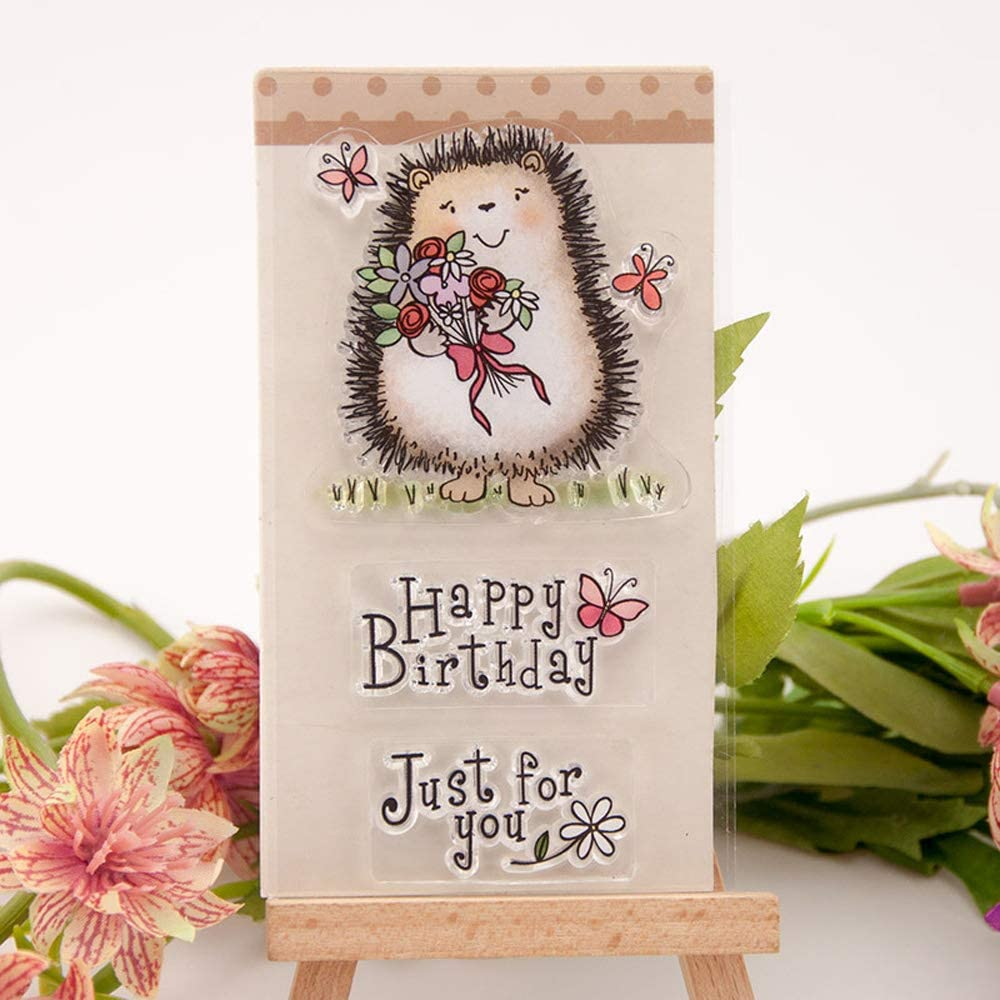 2.6 by 4.5 Inches Hedgehog Flower Stamps Happy Birthday Just for You Letters Clear Rubber Stamps for Scrapbooking Card Making Decors