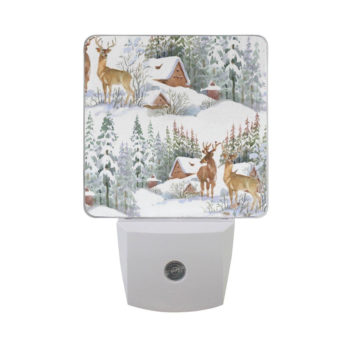 ALAZA Winter Tree Animal Deer Forest Snow LED Night Light Dusk to Dawn Sensor Plug in Night Home Decor Desk Lamp for Adult