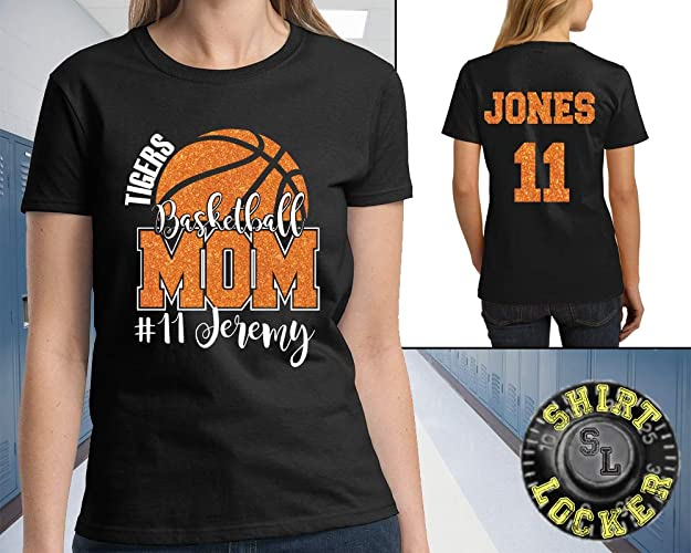 0cb6bf05e92 Image Unavailable. Image not available for. Color: Custom Basketball Mom  Glitter Design Women's Cotton Tee Shirt ...
