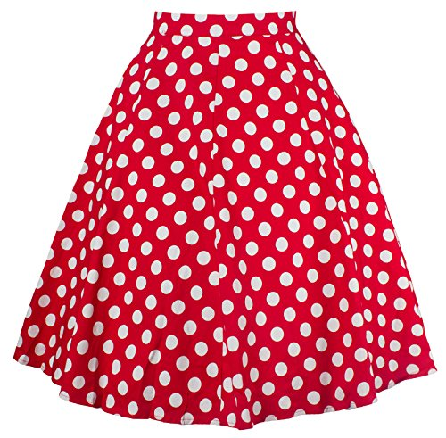 U-shot–Mujer alta cintura falda skater acampanado corto Mini vestido Red Dot