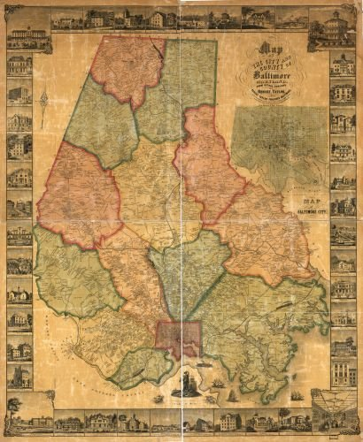 1857 Map of the city and county of Baltimore, Maryland. - Size: 20x24 - Ready to Frame - Baltimore ()