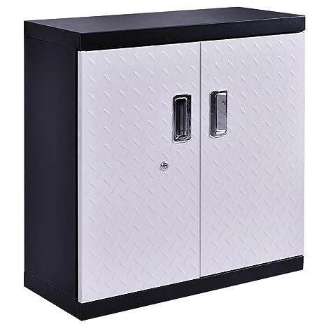 Amazon.com: Goplus Garage Steel Wall Mount Cabinet Metal Storage ...