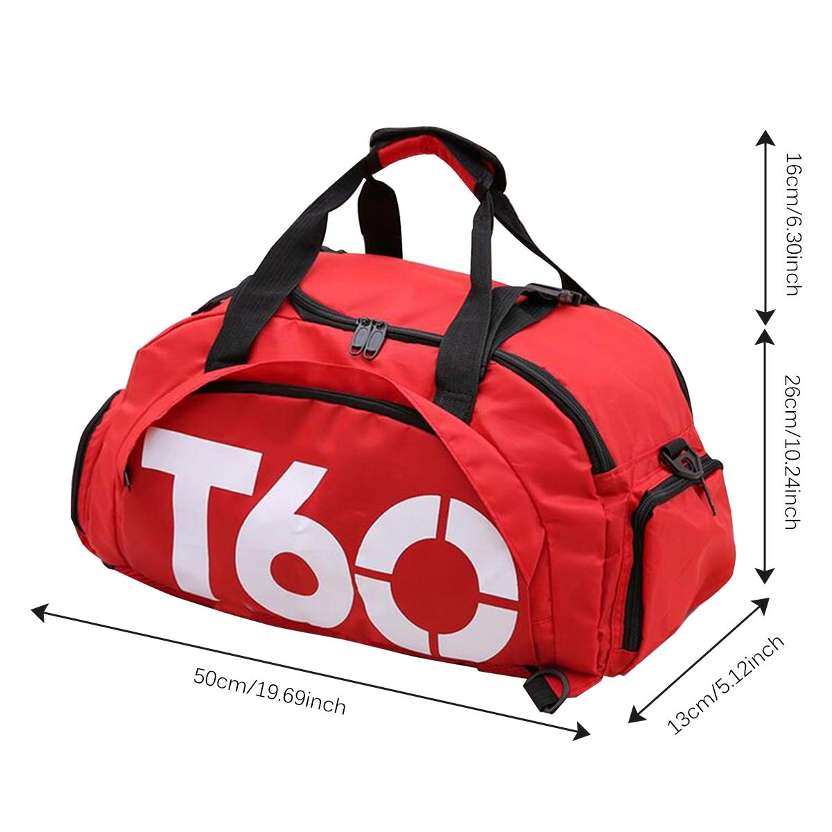 c6520122b9f Amazon.com | 3-Way Travel Duffel Bag Backpack Travel Luggage Gym Sports Bag  Shoe Compartment Men Women Red 19.6''x5.1''x10.2'' | Sports Duffels