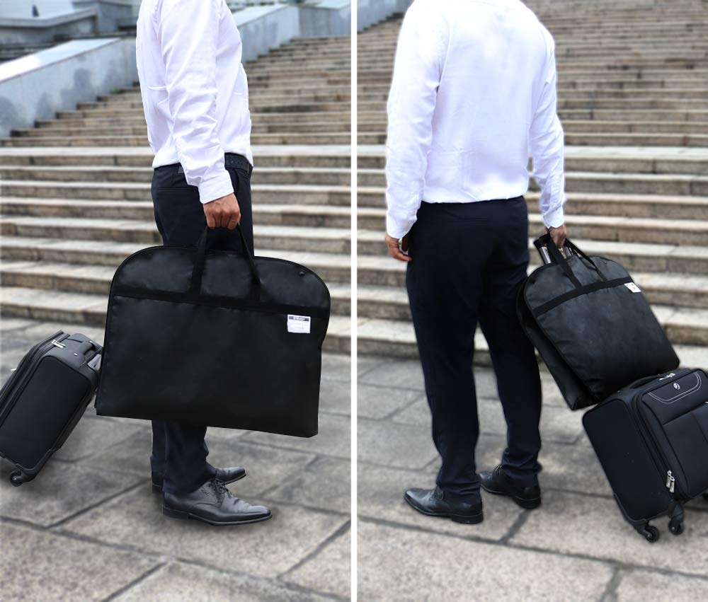 100CM 60CM SPARKSOR 40 Black Breathable Suit Covers Carrier Bag with Handles for Travel,Foldover Breathable Garment Bag with Handles and Gusset,60cm 100cm