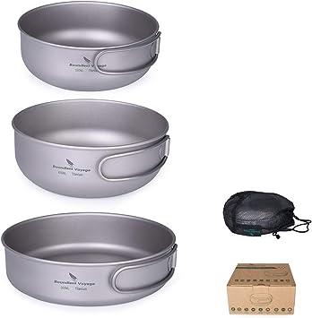 iBasingo 1/2/3-piece Juego De Tazones De Titanio Bandeja De Cocina para Acampar Al Aire Libre Olla con Mangos Plegables Platos De Picnic Kits De Viaje ...