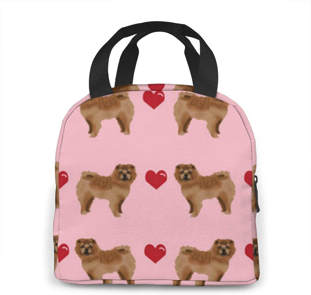 FZDB Chow Love Hearts Dog Lunch Bag in neoprene Lunch Box coibentato Borsa da pranzo impermeabile leggera Borsa termica con chiusura a zip per donna Uomo e bambino