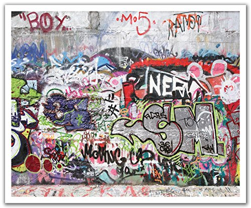 JP London Peel and Stick Removable Wall Decal Sticker Mural, Nero Graffiti Concrete Wall Obscenity Free, 24 by 19.75-Inch