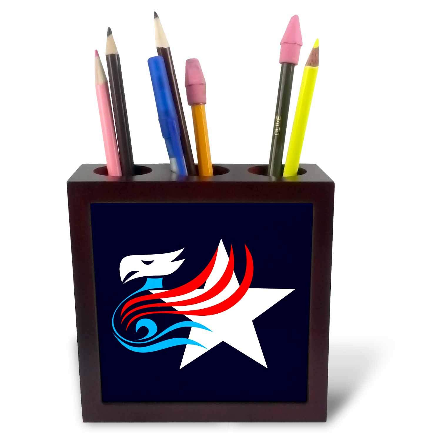 3dRose Alexis Design - America - Bold Eagle and a White Star on Blue. American Patriot Design - 5 inch Tile Pen Holder (ph_290572_1)