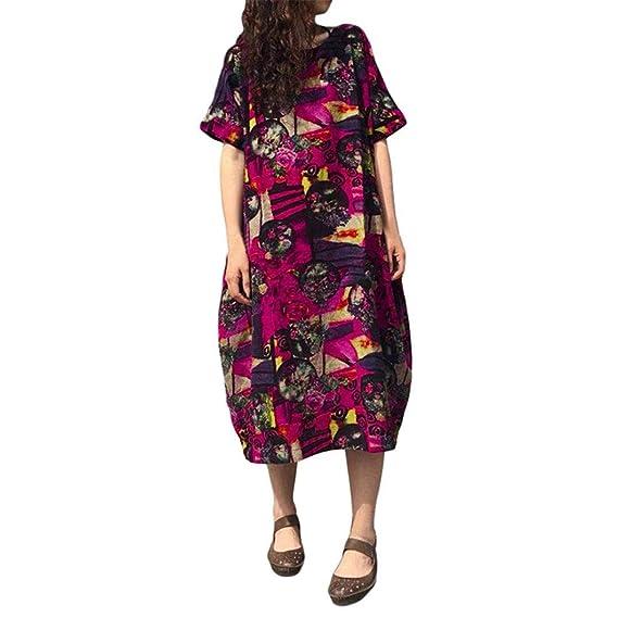 POLP Mujeres Vestido Largo ◉ω◉Patrón de nacional estilo estampado Manga corta vestidos mujer