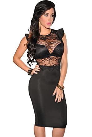 Amazon.com: Cfanny Women's Sexy See Through Lace Top Bodycon Club ...
