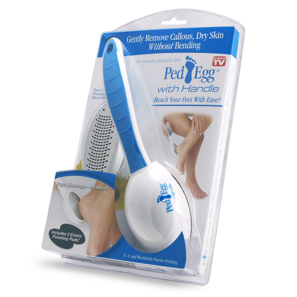 PedEgg Reach Professional Foot File with Handle, Assorted Color/Design