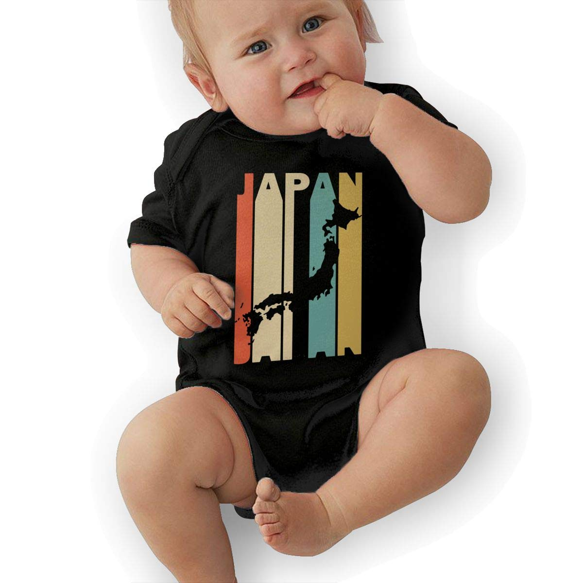 Cute Retro Style Japan Silhouette Onesies Short Sleeve Cotton Rompers for Baby Boys and Girls