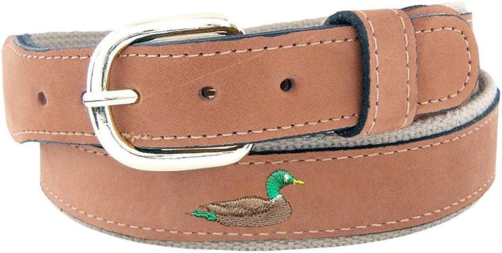Zep-Pro Buff Embroidered Mallard Duck Leather Belt