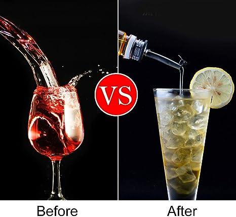 CODIRATO 10 PCS Licor Pourer con Tapa Boquilla de Vertido de Licor 2 Estilos Boquilla de Botella con 1 Cepillo de Limpieza Tapones para Botellas de ...