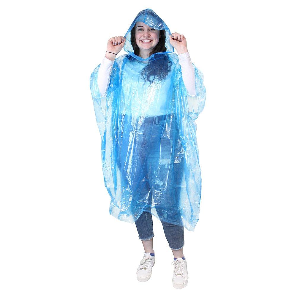 eBuyGB Pack of 10 Emergency Waterproof Rain Poncho - Outdoor Pacamac (Transparent) 12165