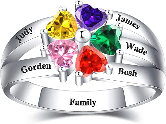 AILIN Personalized 1-8 Birthstone Rings 925 Sterling Silver Heart Custom Engraved Name Ring Wedding Family Mother Days Birthday Aniversary Jewelry Gifts for Women Grandma Mom Her Daughter