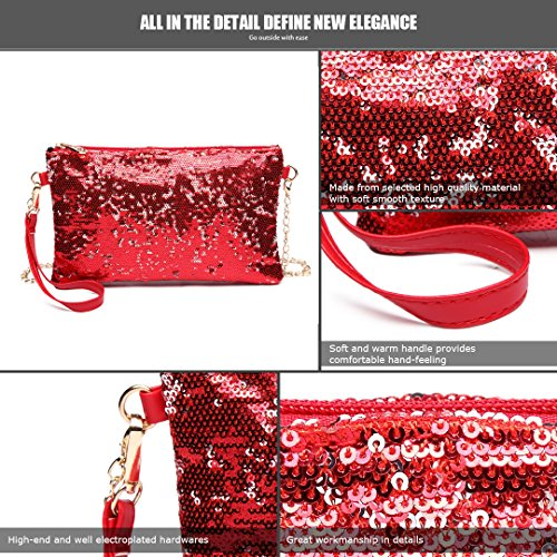 Cross Girl For Lulu Clutch Bag Handbag Women Chain Body Shining Strap Red Miss Party Shoulder Evening 1765 Bag Sequins 6awBx6P