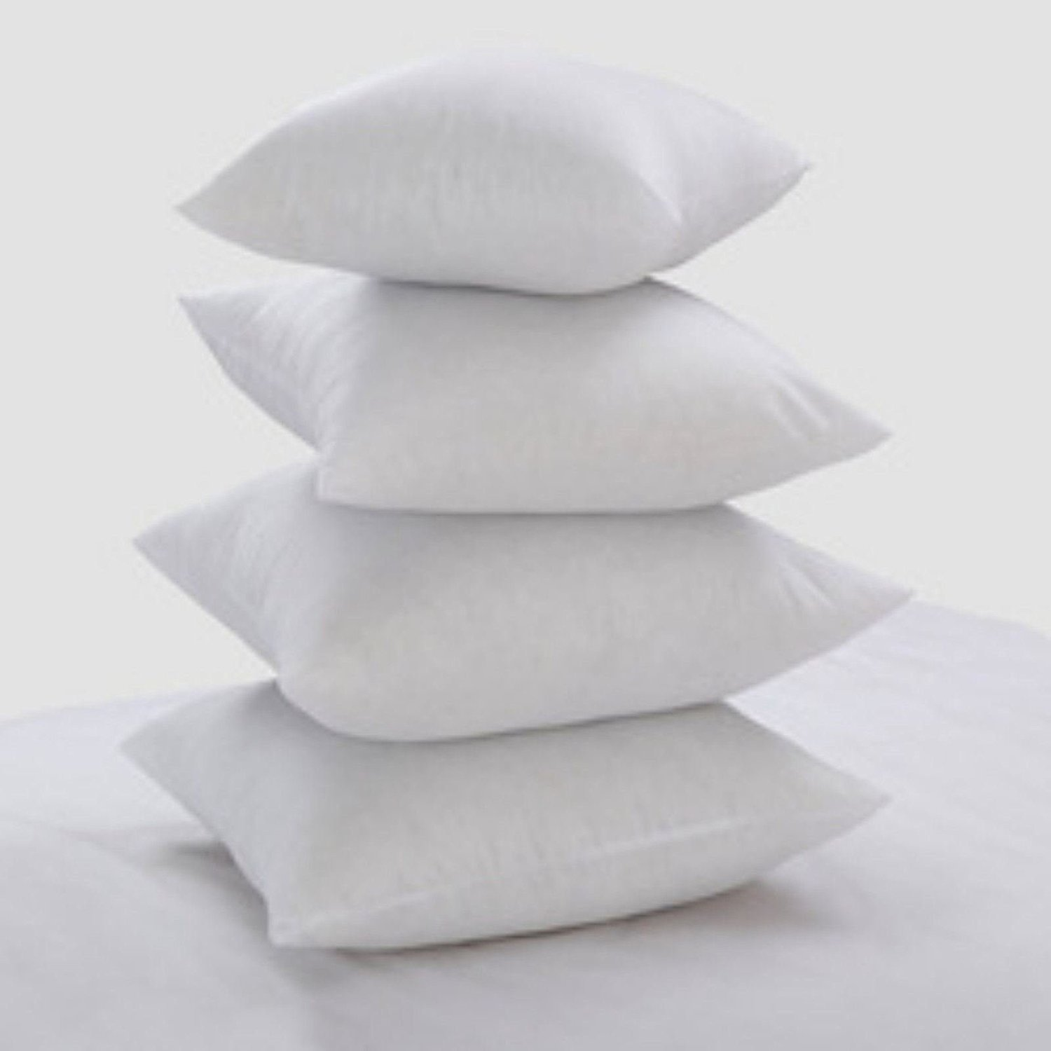 Bluemoon Bedding® Set of 4 - Luxury New White Hollowfibre Cushion Pad Inner Insert Double Stitched Seams - Non Allergenic - Machine Washable by 14