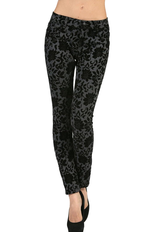 2LUV Women's 5-Pocket, Printed Ponte Stretch Pants Black (P1555)