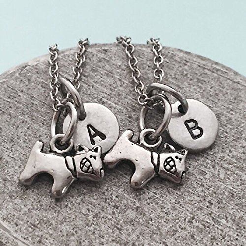 Best friend necklace, dog necklace, animal necklace, bff necklace, sister, friendship jewelry, personalized necklace, initial, monogram