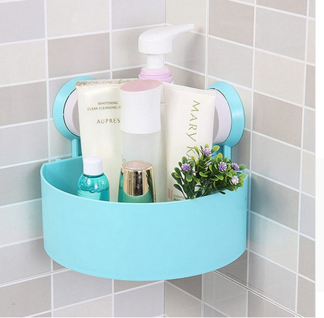 Plastic Suction Bathroom Kitchen Storage Corner Shelf Cup Organizer ...