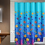 Moldiy Vivid Deep Sea Fish Patterned Shower Curtain 72' x 72',Water and Mildew Resistant for Bathroom Decor