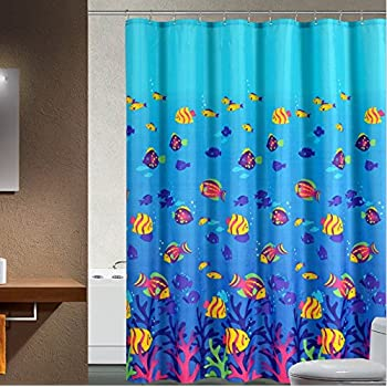 fish shower curtain sea seabed fish corals underwater 28792