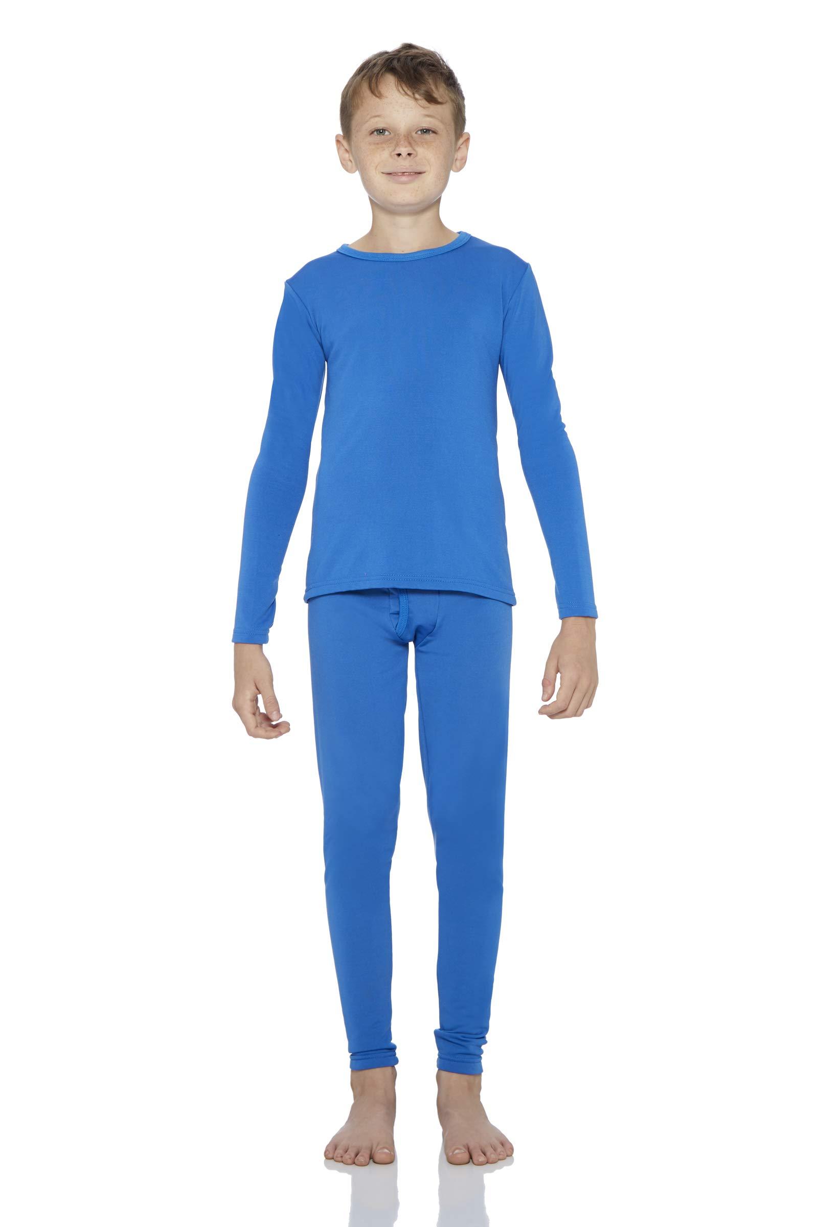 Rocky Boy's Fleece Lined Thermal Underwear 2PC Set Long John Top and Bottom (S, Blue)
