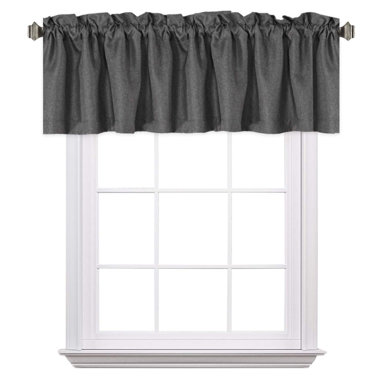 H.VERSAILTEX Elegant Rich Linen Window Curtain Valance,52 by 18 -Inch, Rod Pocket, Charcoal Gray,1 Panel
