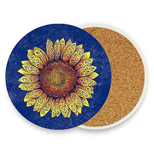 Asefcnxkjii Swirly Sunflower Ceramic Mug Coasters Drink Coaster, Bar Coaster Round Cup Mat with Non-Slip Cork Base 1 piece