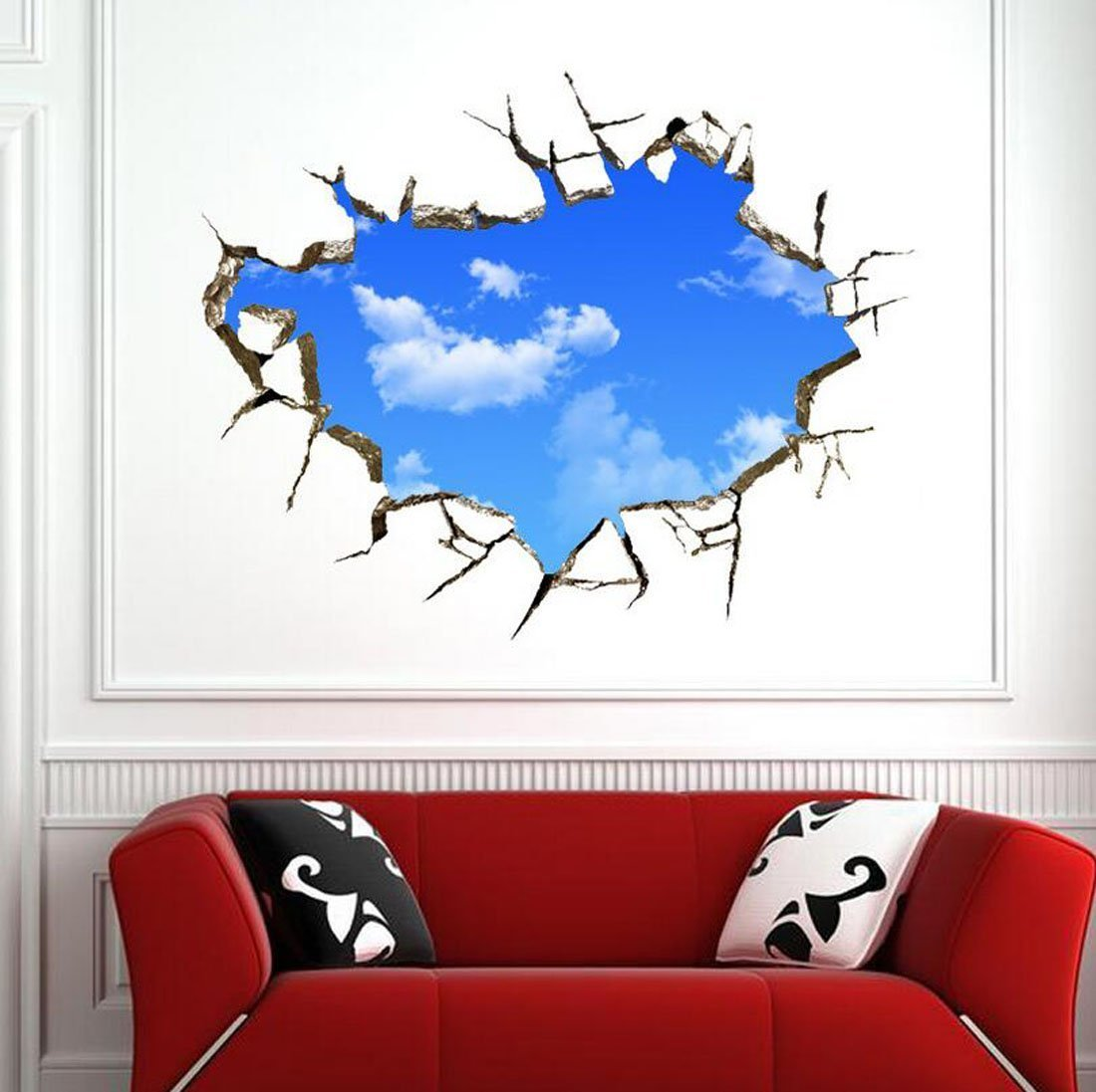 amazon com 3d wall stickers blue sky for ceiling real feeling amazon com 3d wall stickers blue sky for ceiling real feeling suit for bedroom living room nursery kids room wall decoration home kitchen