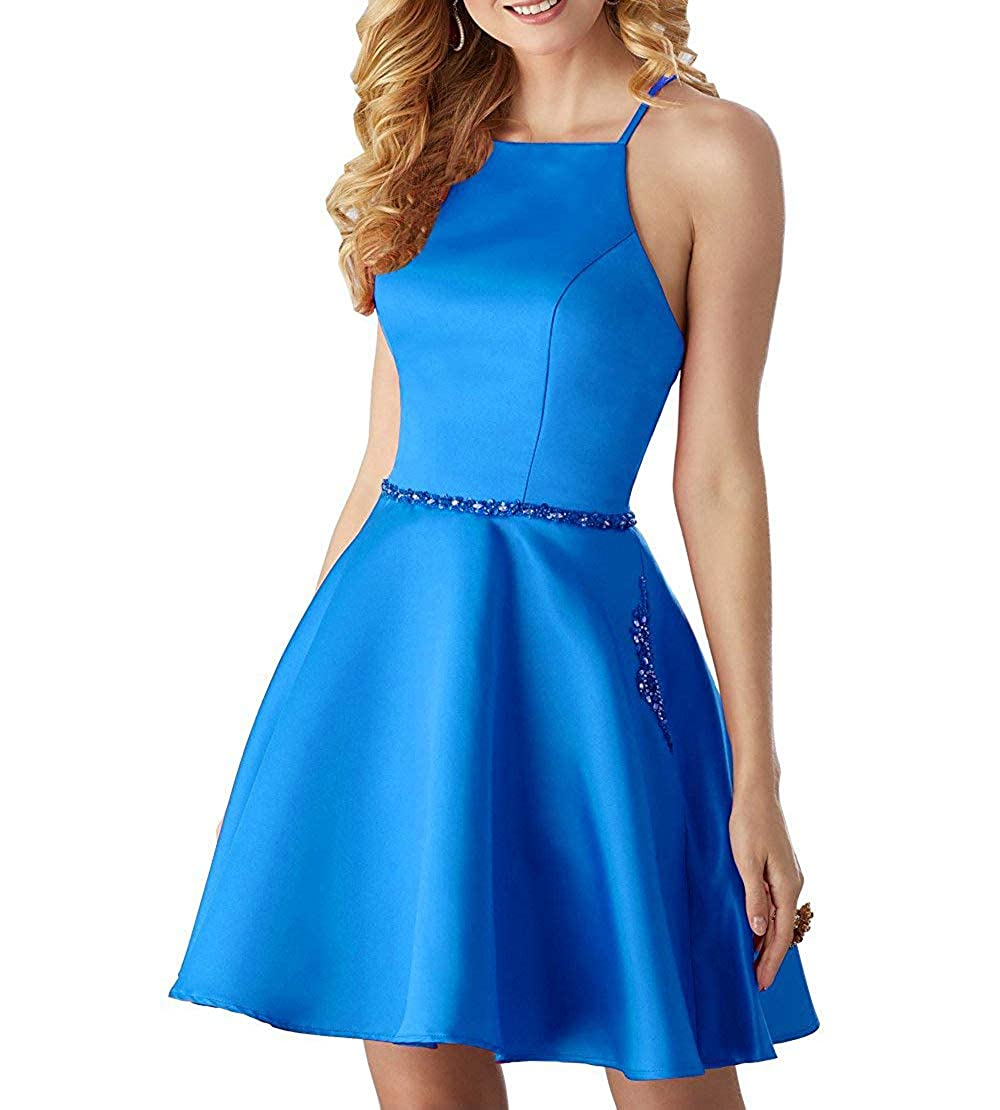 bluee ALine Satin Halter Short Party Dress with Beading Homecoming Dress Prom Gown