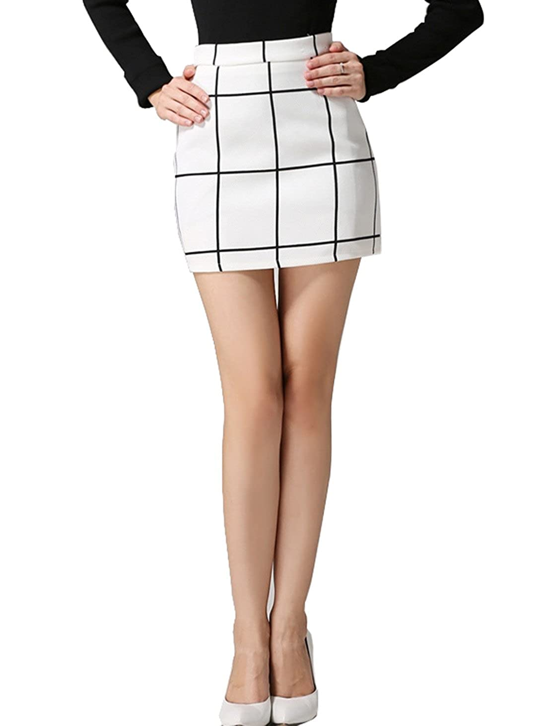 b8bffc33e3 Amazon.com: SheIn Women's Plaid Bodycon Mini Skirt - White Large: Clothing