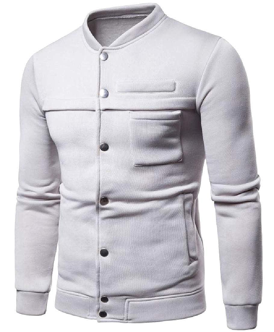 Winwinus Mens Comfortable Slim Casual Banded Collar Jersey Outwear