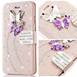 Samsung Galaxy S7 Edge Case,L-FADNUT Bling Jewellery Crystal Rhinestone Flip PU Leather Case,3D Butterfly Magnetic Diamond Buckle with Stand Wallet Card Holder For Galaxy S7 Edge - Rose Gold