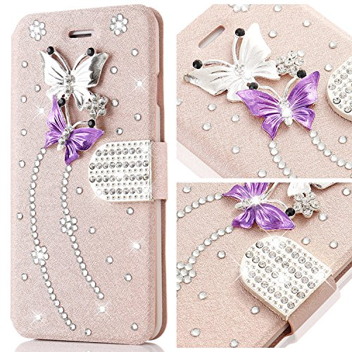 iPhone 4s Case,L-FADNUT Bling Jewellery Crystal Rhinestone Flip PU Leather Case,3D Butterfly Magnetic Diamond Buckle with Stand Wallet Card Holder For iPhone 4/4s - Rose Gold