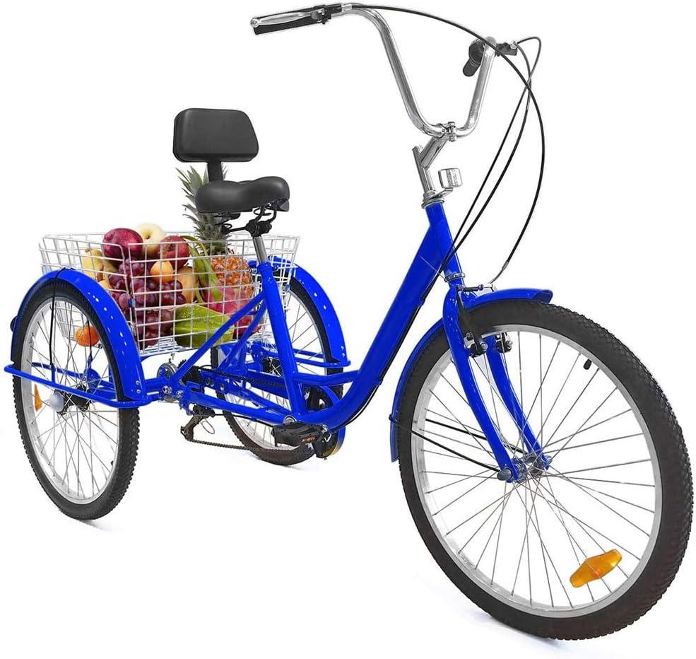 TTFGG Bicicleta Triciclo De 24 Pulgadas Adulto,Bicicleta De 3 Ruedas,con Gran Cesta del Respaldo del Asiento,Adecuado para Adolescentes,Señoras, Hombres,Compras,Compras,Deportes,Ocio,Azul
