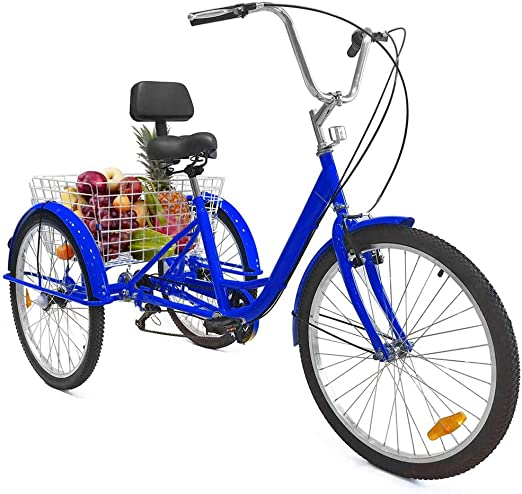 TTFGG Bicicleta Triciclo De 24 Pulgadas Adulto,Bicicleta De 3 ...