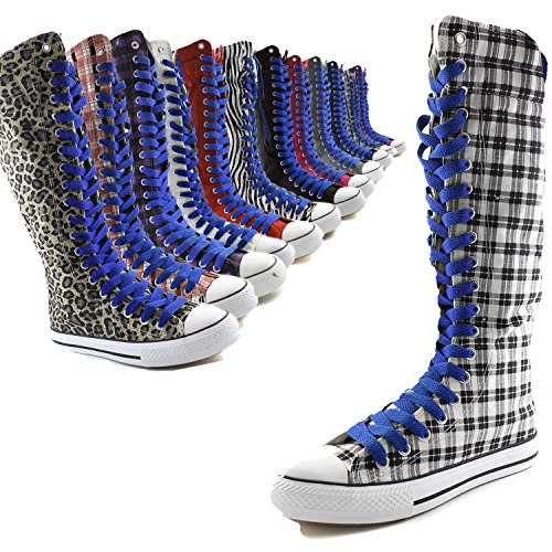 Womens Canvas Royal Blue Punk Boots DailyShoes Royal Mid Boots Black Casual Sneaker Blue Tall Flat Lace Calf d5pnFxwvq