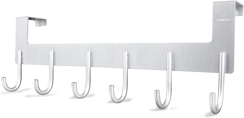 AcmeTop Perchero de Puerta , perchas de baño aluminio - 6 Ganchos, para colgar Abrigos, Toallas, bolsos, Gorras (Plateado)
