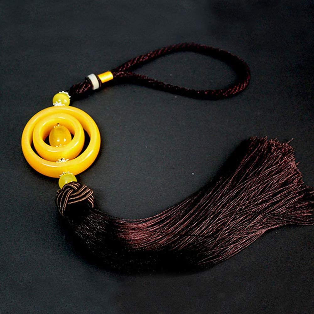 Yellow QTKJ Handmade Chinese Knot Long Brown Tassel Pendant Handbags Straw Bag Charms Jade Pendant Yellow Bead Tassel Ornaments for Women