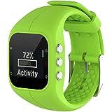 Malloom Reemplazo Suave Goma Silicona Reloj Correa Banda muñeca para Polar A300 Fitness Watch (Verde)