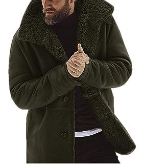 Men Winter Faux Fur Long Shearling Jacket Coat Classic Sheepskin Windproof Motorcycle Outwear