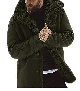 Men Winter Faux Fur Long Shearling Jacket Coat Classic Sheepskin Windproof  Motorcycle Outwear (Army Green 1d9ad9e53