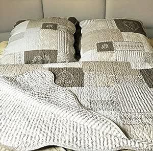 couleur unie StoneWashed taupe Biancheriaweb Couvre-lit boutis d/ét/é pour lit double
